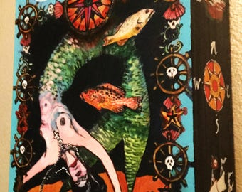 Mermaid Tarot, cradled panel, mixed media pirate art by Juliana Coles