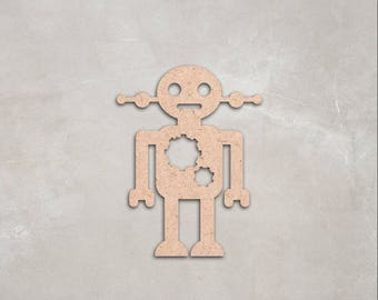 "Wooden robot figure, Cutout Shape, Unfinished, craft supplies, decoration, 2"" 34"" Home Decor, Wall Hanging, DIY, MDF shape"