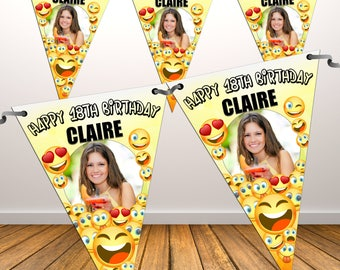 Personalised Happy Birthday PHOTO Flag Banner Bunting with ribbon N81 (10 Flags ) Emoji Hanging Decoration 18th 21st 30th 40th Any Age