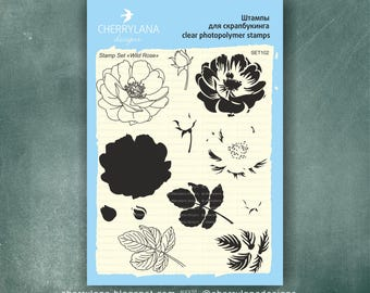 """Wild Rose Set of Stamps 6x8"""" Clear Photopolymer Rubber Flower Layered Stamp Set"""