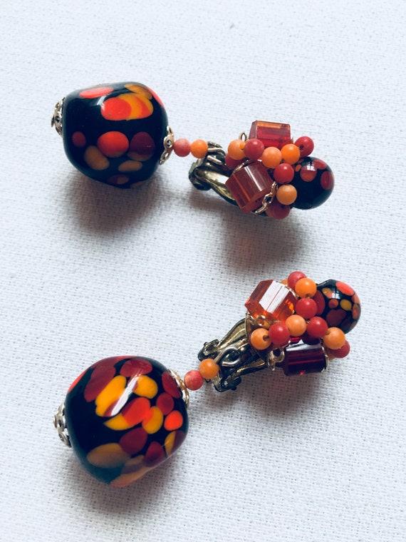 Signed Japan Vintage Art Glass & beaded Clip On Dangle Earrings