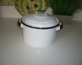 Vintage Enamelware Pot with Lid...White with Black Trim