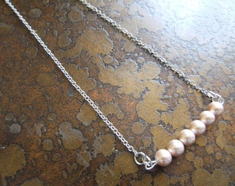 Rose Dawn Glass Pearl Beaded Silver Tone Chain necklace