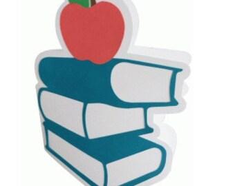 School Books Card , Blank inside , kids, students, family, friends, teachers , staff