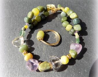 Finery Sarpine - Serpentine, Ametrine (gemstones) 24 K gold.