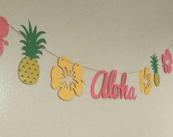 Luau party banner, aloha banner, Hawaiian luau, Hawaiian party, pineapple bunting,pig roast, tiki party,  tropical party, tropical wedding,