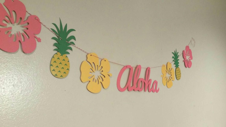 luau party banner aloha banner hawaiian luau hawaiian. Black Bedroom Furniture Sets. Home Design Ideas