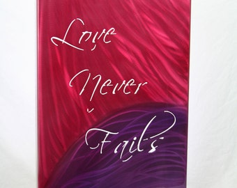 Love Never Fails Aluminum Art Panel, gift for her, anniversary gift, statement wall decor, modern romantic art, lobby wall art, wedding gift