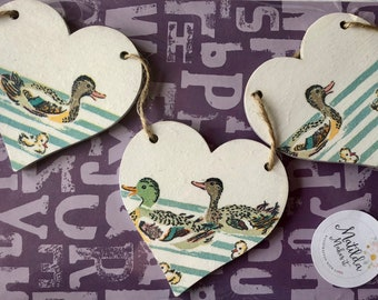 Cath Kidston's Ducks In a Row Wooden Heart Garland/Bunting