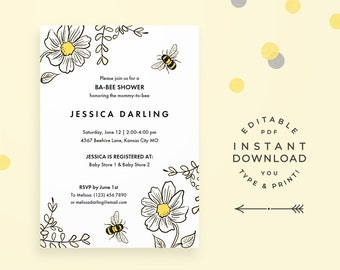 Bee baby shower etsy bee baby shower invitation editable pdf instant download bumblebee baby shower invitations in yellow for gender neutral baby shower filmwisefo