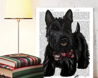 Cute Scottish Terrier print digital painting Scottie Dog art Scottie Dog print Scottie Dog gift country home décor New home gift cute gift