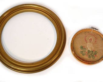 Gold Wood Round Frame