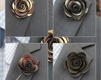 Gold lapel flower, gold boutonniere, mens bronze lapel boutonniere, bronze wedding boutonnniere