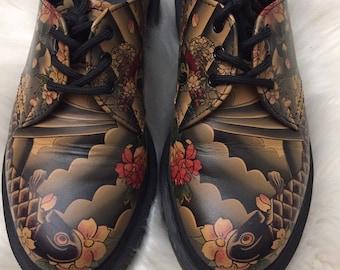 Dr Martens Oxfords Japanese Tattoo Koi Fish Women's 5 *Rare* Doc 1461