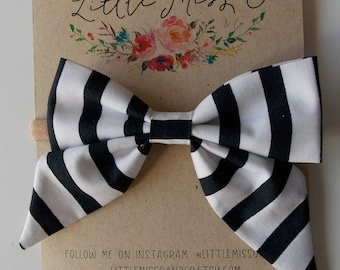 Eloise Sailor Bow in Black and White Stripe