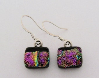Tiny dichroic glass dangle earrings