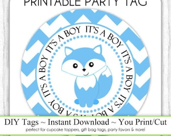 Printable Fox Party Tags, Blue Chevron and Fox Baby Shower Printable Party Tag, Instant Download, Cupcake Topper, DIY, You Print, You Cut