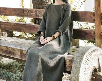 Women cotton and linen dress – Retro women's round neck long-sleeved dress