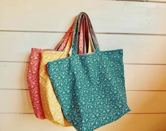 Set of three shopping Tote, cotton, furnished tote bags