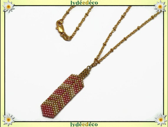 Necklace plated 18 k coral gold beige feather weaving beads ball chain