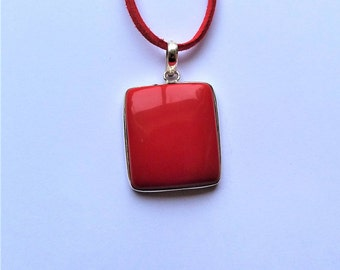 Sterling Silver Coral Pendant, Cushion/TV Shape on Faux Suede Cord
