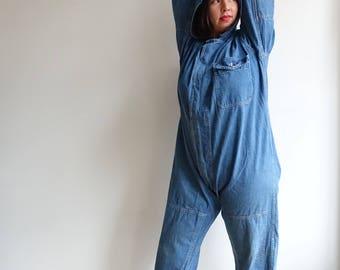 Vintage 60s Hooded Denim Coveralls/ M Setlow Workwear Jumpsuit / XL