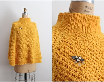 Vintage Mod Mustard Crocheted Bohemian Poncho/ Wrap / Shawl/ Ruana/ Cape / One Size