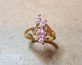 Vintage Pink Marquis CZ Waterfall Ring