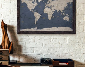 World Map Poster Print | Executive Style Modern | Map Decor | Uncustomized
