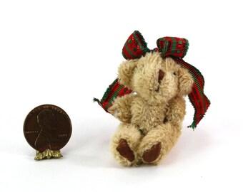 Artisan Soft & Fuzzy Teddy Bear with Christmas Ribbon Bow