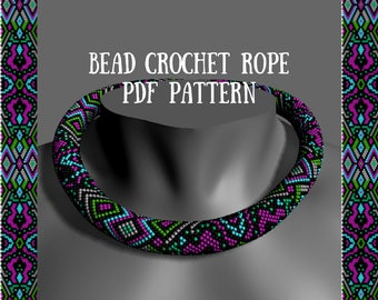 "Bead crochet rope pattern PDF pattern ""Fiesta"" Spring beaded necklace Bead crocheting Beaded ropes patterns Necklace beadwork"