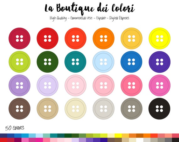 50 Rainbow Buttons Clip art Sewing Digital illustrations PNG