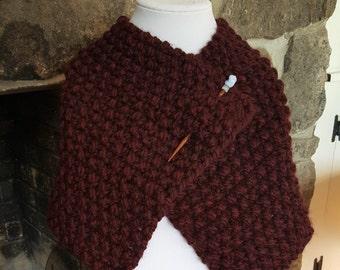 Womens Burgundy Wool Handknit Cowl with Shawl Pin