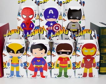 28 PCS/lot Superhero Gift Box   Candy Box Gift Box Favor Box Birthday Party Decorations Kids Event & Party Supplies