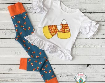 Little Girls Halloween Outfit size 18 months - Girls Candy Corn Top and Leggings - Toddler Girl Halloween Candy Applique - READY TO SHIP