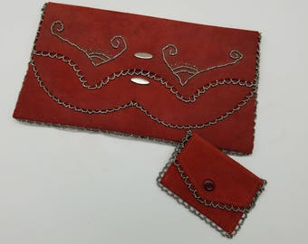 Vintage Handmade Red Suede Leather Envelope Clutch With Silver Bead Accents