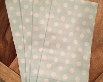Mint with white polka dots napkins-Set of 2 or 4