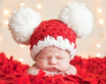 Christmas Baby Santa Hat Baby Hat 0 to 3 Month Baby Girl Hat Baby Boy Hat Pom Pom Mouse Animal Ear Hat Red White Christmas Hat Photo Prop