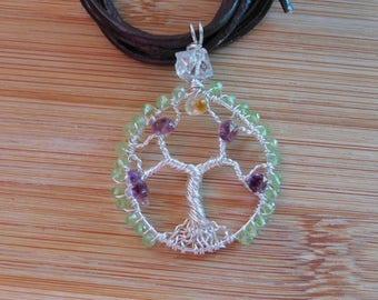Tree of Life Pendant Amethyst Briolette Chip Citrine Diamond Quartz Peridot Bead Wire Wrapped Pendant Argentium Silver Wire Jewelry Handmade