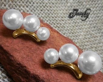 Seashell Pearl Gold Cuff Earrings