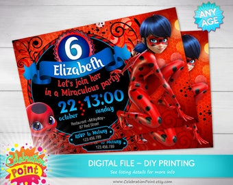 Miraculous ladybug invitation miraculous ladybug miraculous miraculous ladybug invitation miraculous ladybug birthday invitation personalized only file solutioingenieria Choice Image