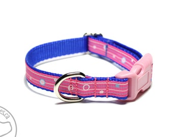 """Delicate Pink and Blue Striped Dog Collar - 1/2"""" (13mm) Wide - your choice of style and size - Pink Dog Collar - Thin Collar"""