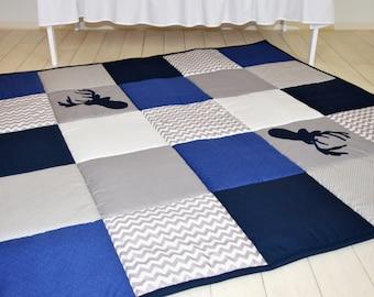 Baby Play Mat, Baby Mat , Baby Activity Mat, Deer Baby Playmat, Playroom Decor, Navy  Blue,  Gray