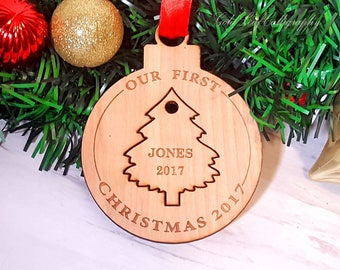 Double Personalized Birch Wood Tree  Christmas Ornament Custom Engraved laser etched Bauble