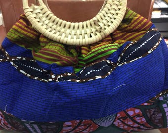 Bamboo handle Handbag from West Afriican Print fabric