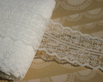 """Wide Ivory Lace - Galloon Off White Trim - 1 3/4"""" Wide - Bridal Wedding Decor - 4 Yards"""