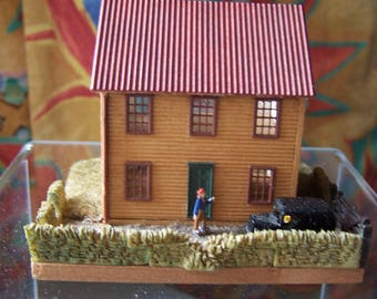 Wooden miniature house - 1/144 scale - laser cut - open back - finished