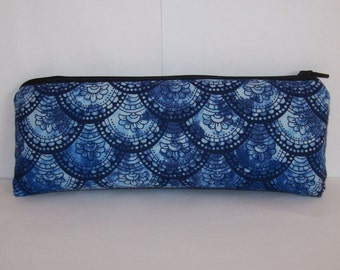 """Pipe Pouch, Pipe Case, Pipe Bag, Trippy Blue Bag, Padded Pipe Pouch, Glass Pipe Cozy, 420 Gift, Padded Zipper Bag, Hippie Bag - 7.5"""" LARGE"""