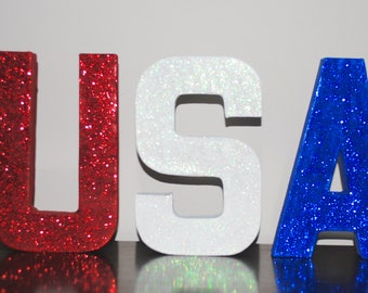 USA Glitter Letters