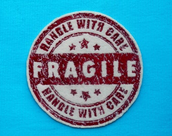 """Fragile Iron On Patch, Handle with Care, Large, 5 1/4"""" diameter, Ivory and Red, Retro, Vintage, Embroidered Patch, Iron On Patch"""